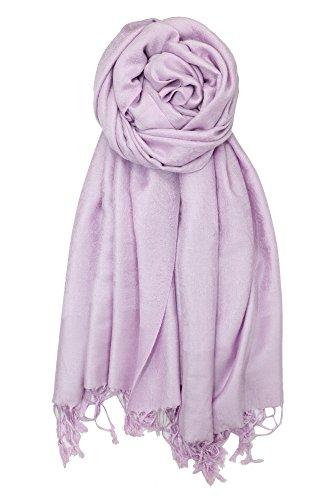 Achillea Two Tone Vintage Jacquard Paisley Pashmina Shawl Wrap Scarf (Light Lavender)