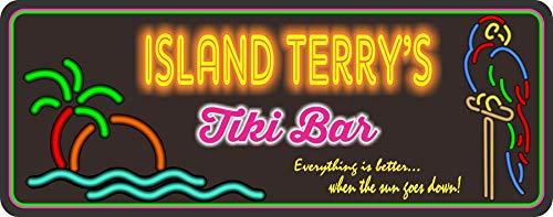 Personalized Tiki Bar Sign With Neon Effect Font & Your Custom Name - Tropical Palm Tree Tiki Bar Decor - Beach Bar Wall Art - Fun Sign Factory Original