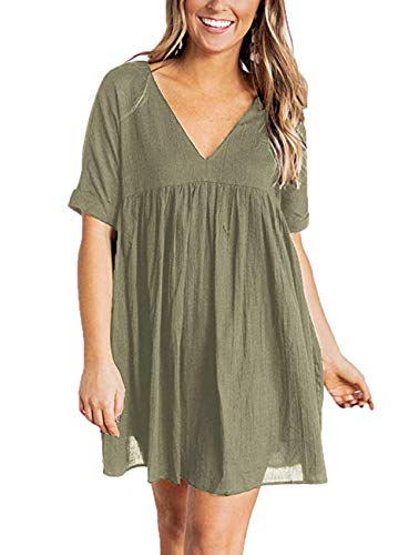 MIROL Women's Short Sleeve V Neck Pleated Babydoll Solid Color Tunic Party Mini Dress ()
