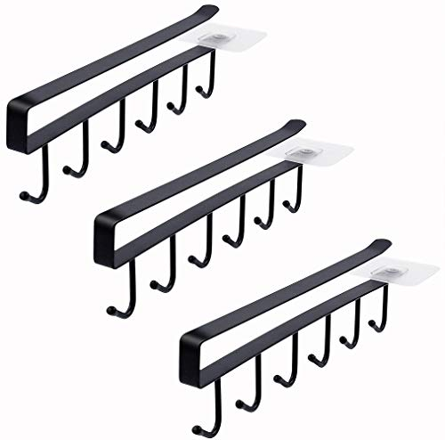 Art Secret Multi-function 3pcs × 6 Hooks Mug Holder Under Cabinet Coffee Cup Hanger for Kitchen, Armoire and Any Thickness of 0.8 inch or Less Shelves (Black)