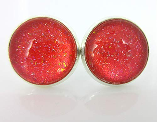 (Silver-tone Coral Iridescent Glitter Glass Stud Earrings Hand-painted 12mm)