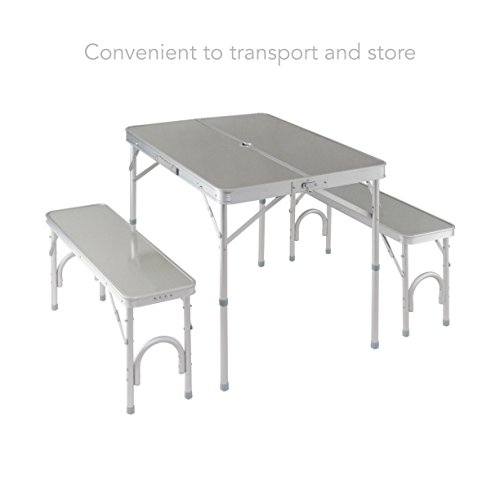 Aluminum Portable Folding Picnic Table Bench Suitcase w/ 4 Seat Indoor-Outdoor Dining Picnic Camping Home Garden Furniture decor #515 (Furniture Nz Garden Rustic)