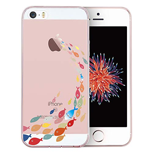 iPhone SE Case, iPhone 5S Case, iPhone 5 Case, Doramifer Childhood Series Protective Case Soft TPU Bumper [Shock-Absorption][Good Grip][Anti-Slip] for iPhone SE/5S/5 (Fishes)
