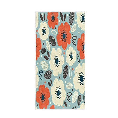 (Semtomn 14 x 30 Inches Bath Towel Pink Abstract Flower Anemone Floral Red Accent Beautiful Beauty Soft Absorbent Travel Guest Decor Hand Towels Washcloth for Bathroom(One Side Printing))