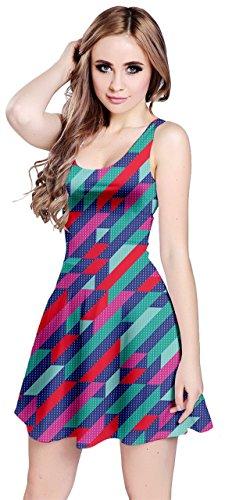 Cowcow Femmes Vecteur Coloré Abstrait Géométrique Robe Sans Manches Irisé Polygonale, Xs-5xl Vecteur Rétro