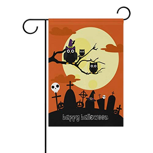 (Ashasds Exquisite Double Sided Happy Halloween Big Moon and Cute Owls Polyester House Garden Flag Banner 16 x 30 Inch for Anniversary Family Garden)