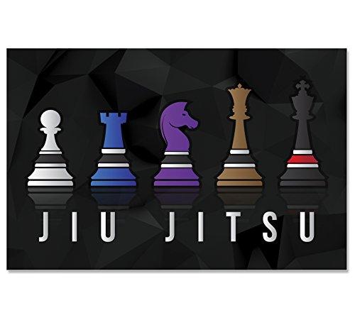 Chess Jiu Jitsu Poster for BJJ, 11 x 17 Inches, Art Print for Brazilian Jiu Jitsu Belt Colors by Damdekoli