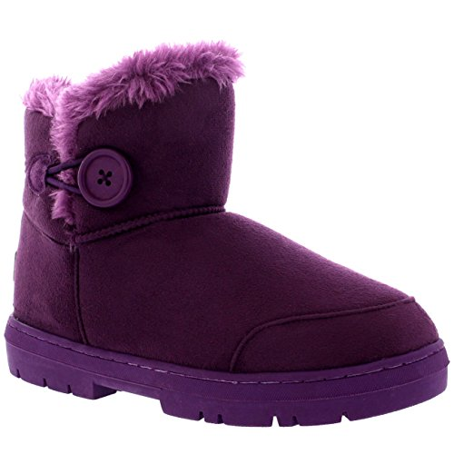 Holly Womens Button Mini warme Schuhe Winter flache Schnee Regen Stiefel Lila