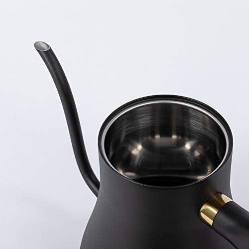 IKOHS Hattori Swan Studio Bouilloire à eau en acier inoxydable avec affichage de la température et système de sécurité à arrêt automatique Noir 0,5 l
