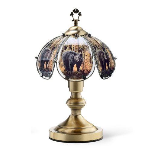(OK Lighting OK-603AB-BE8 14.25-Inch Touch Lamp with Bear Theme, Antique Bronze)