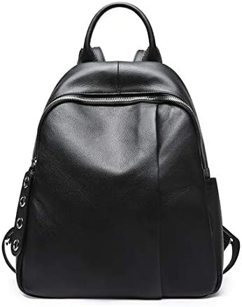 Heshe Womens Leather Black Backpack Casual Travel Ladies Daypack Multipurpose Fashion Bag Black