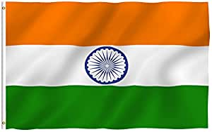 ANLEY [Fly Breeze] 3x5 Foot India Flag - Vivid Color and UV Fade Resistant - Canvas Header and Double Stitched - Indian National Flags Polyester with Brass Grommets