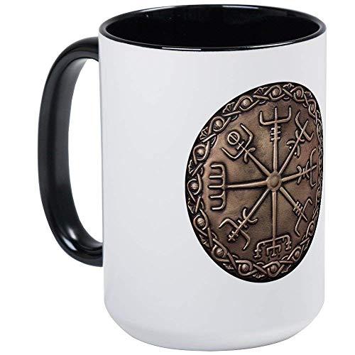 (Brass Vegvisir - Viking Compa Mug - 11oz RINGER Coffee Mug, Ceramic 11oz Coffee Cup)