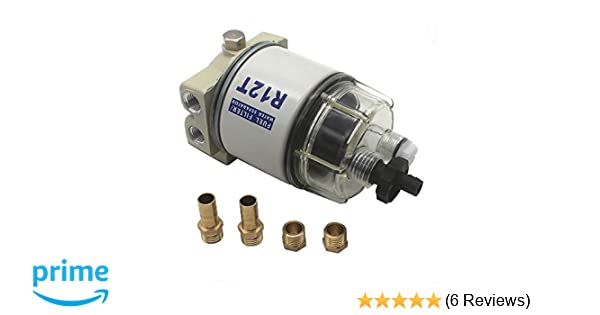 kipa r12t fuel filter water separator 120at npt zg1/4-19 with fitting  complete combo filter for automotive racor r12t 10 micron marine diesel  engine 3/8