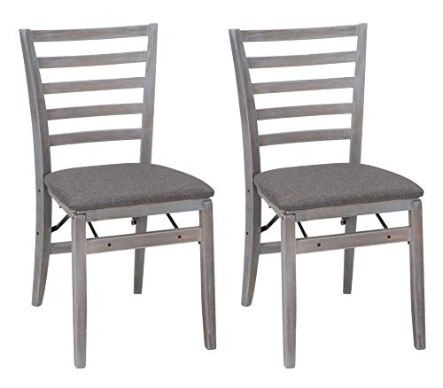 Cosco Wood Folding Chair with Fabric Seat (2 Pack), Gray (White Fabric Chairs Dining And Black)