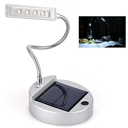 41T%2BlIOca2L - Anpress® Flexible Gooseneck Style 4-LED Mini Solar Table Lamp / PC USB Charger LED Portable Lamp / Solar Bulbs Light / Solar Indoor Reading lighting (White)