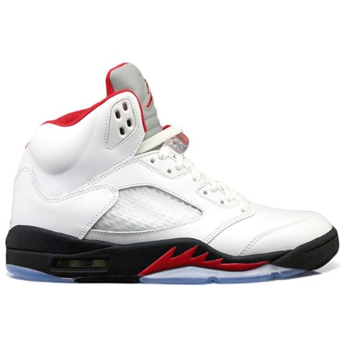 Nike Mens Air Jordan 5 Retro Silver Tongue White/Fire Red/Blk Leather Basketball Size 11 (And 5 Jordan Red White Air)