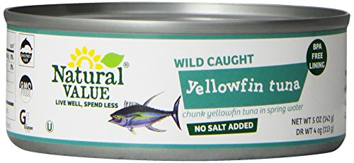 Natural Value No Salt Added Chunk Yellowfin Tuna in Spring Water, 5 Ounce Cans (Pack of 24)