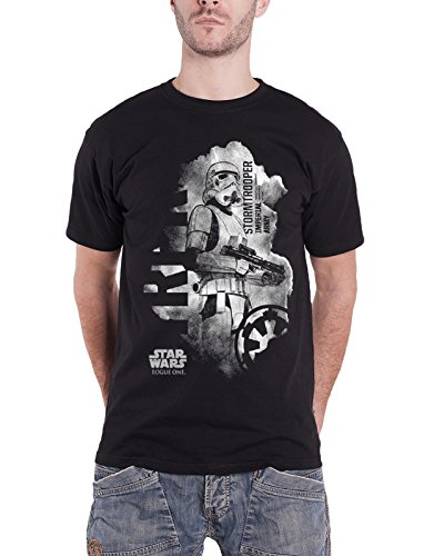 Star Wars T Shirt Rogue One Stormtrooper Distressed Logo Official Mens (Star Wars Distressed T-shirt)