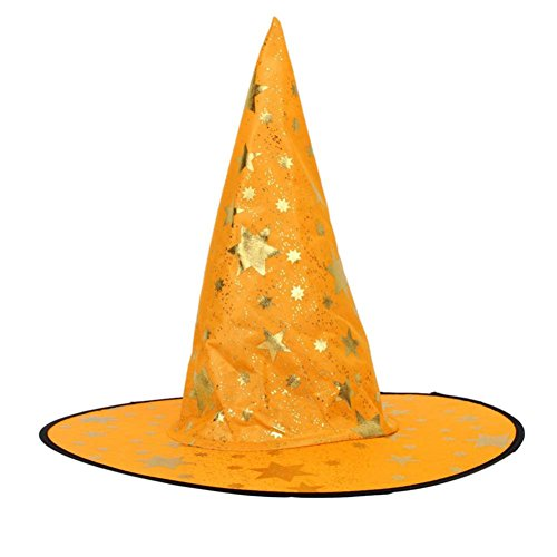 NOMENI Adult Womens Mens Witch Hat For Halloween Costume Accessory Stars Print Cap (Orange)