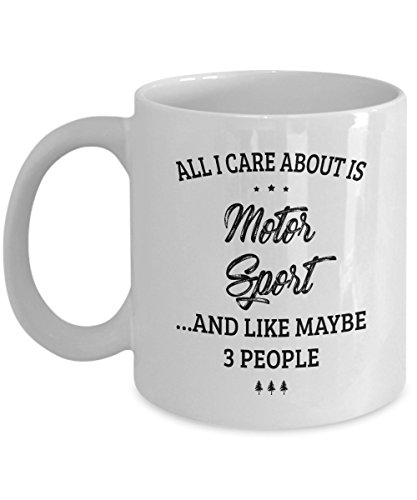 Motor Sport Mug - I Care And Like Maybe 3 People - Funny Novelty Ceramic Coffee & Tea Cup Cool Gifts for Men or Women with Gift Box