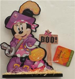 [New DISNEY HALLOWEEN MINNIE MOUSE BOO! Glitter Wood Table Top Sign DECORATION] (Wood Boo Sign)