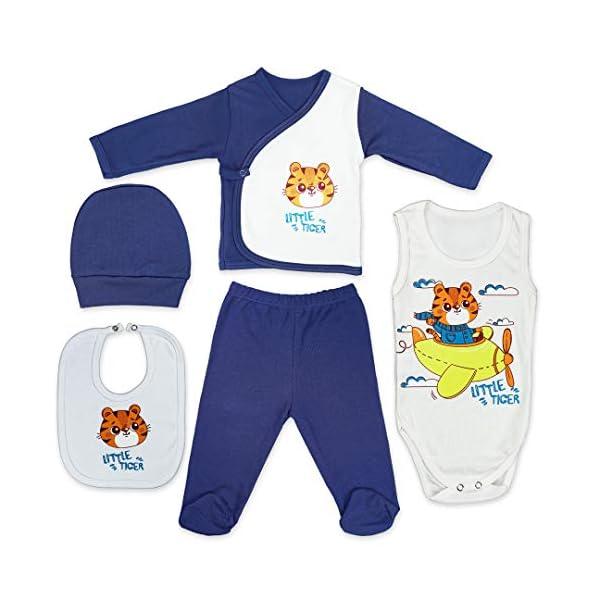 QAR7.3 Completo Vestiti Neonato 0-3 mesi - Set Regalo, Corredino da 5 pezzi: Body, Pigiama, Bavaglino e Cuffietta (Blu… 1