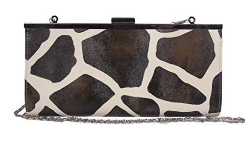 Womens Giraffe Print Wallet - Womens Giraffe Animal Print Clutch Wallet w/Chain