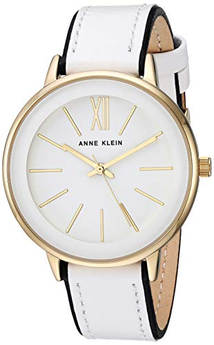 (Anne Klein Women's AK/3252WTBK Gold-Tone Accented Black and White Leather Strap Watch)