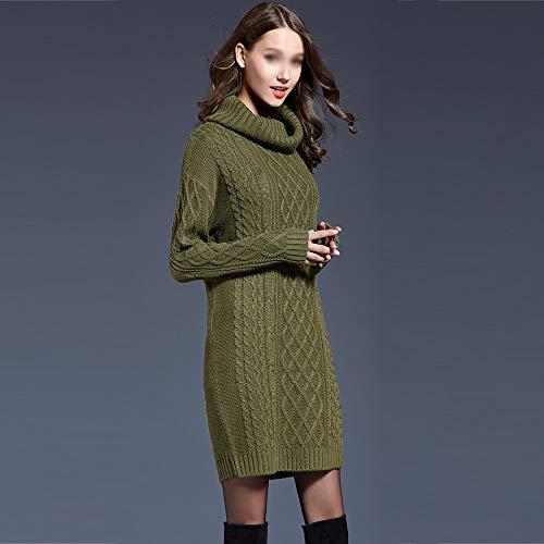 xxxl Green Alto Invernali Jumper gray Collo Lunghe Elegante Pullover Dolcevita Giuntura Top Donna Vintage Maglieria Casual Baggy Sweater Maglione qUxFUSET