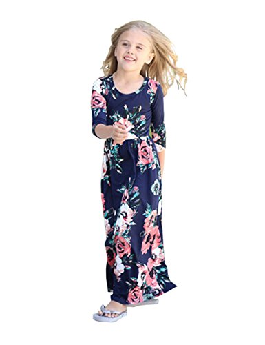 Girls Maxi Dress Kids Floral Casual Pocket Long Sleeve T-Shirt Dresses for Girls 6-12 -