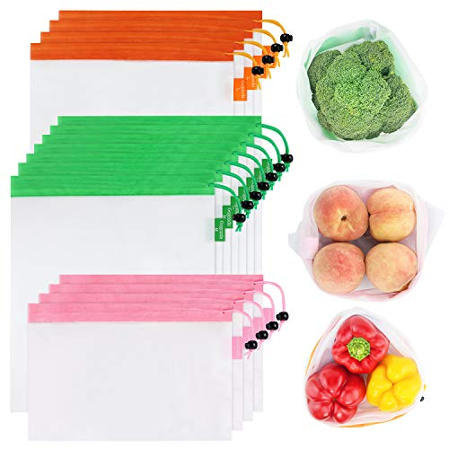 GOGOODA Upgraded Version 15 Pcs Reusable Produce Bags, 3 Size Lightweight Washable and See Through Mesh Produce Bags with Drawstring, Toggle Tare Weight Color Tag, Color Band for Easy to Pick