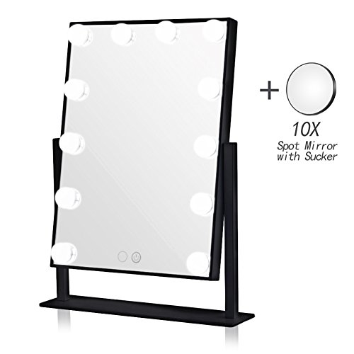 Geek-House Lighted Vanity Mirror Hollywood Style Makeup Tabletops, Large Cosmetic Mirror with 12 x 3W Super Bright Dimmable Touch Control LED Bulbs, ()