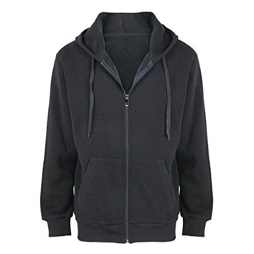 Urimoser Men's Basic Full Zip Hoodies Cotton Fleece Long Sleeve Lightweight Sweatshirts (Black, 5XL)