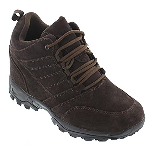 CALTO - H0031-4 Inches Taller - Height Increasing Elevator Shoes - Dark Brown Lace-up Hiking Boots