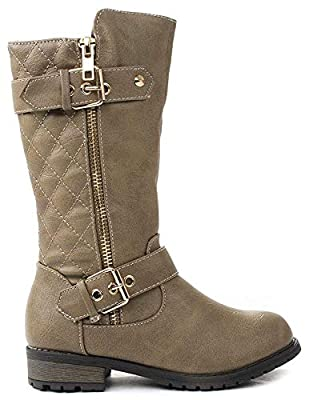 ForeverLink Little Girls Knee High Flat Riding Boots Shoes
