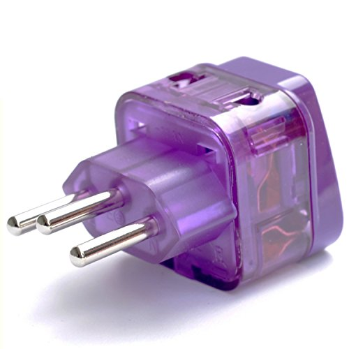 AC POWER TRAVEL ADAPTER PLUG FOR BRAZIL / WITH DUAL PLUG-IN PORTS AND SURGE PROTECTION / GROUNDED