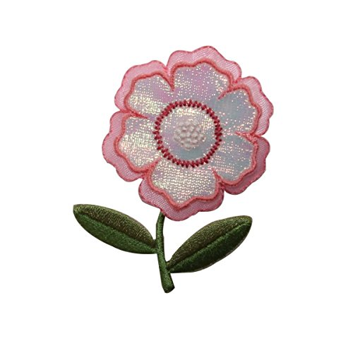 (ID 6249 Shiny Pink Pansy Patch Flower Plant Garden Embroidered Iron On Applique)