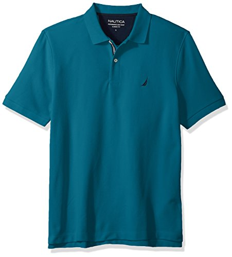 Nautica Men's Classic Short Sleeve Solid Polo Shirt, Cargo Blue, Large