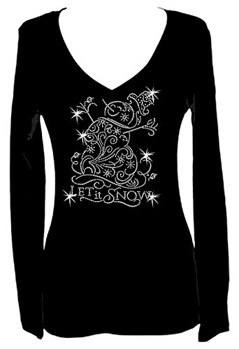 Snowman Christmas Rhinestone Bling Womens Long Sleeve V Neck Tee Shirt (3X) Black -