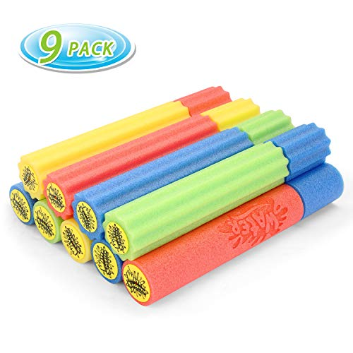 Fun-Here Water Shooter 9-Pack Pool Noodles 2 Styles Summer Toys Bulk Water Blaster Foam Squirt Gun Super Lake Soaker Outdoor Set for Kids Teens Adults