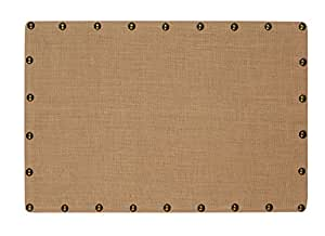 Linon Burlap Nailhead Corkboard, Medium