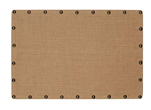 Cork Bulletin Natural Side Board - Linon Burlap Nailhead Corkboard, Medium