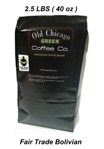 Fair Trade Certified Green Unroasted Old Chicago Coffee Beans - 2.5 LBS Bolivian Origin