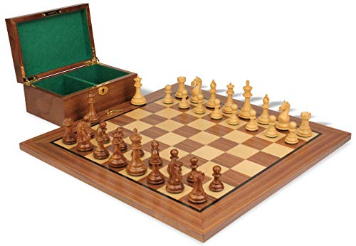 Fierce Knight Staunton Chess Set Acacia & Boxwood Pieces with Walnut Board & Box - 3.5