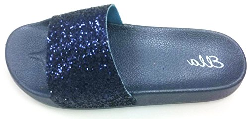 You Cushioned Sparkly Summer Womens Beach Glitter Ladies Size Ella Pool Sandals Shoes Mule Slip On Definitely Footbed Navy dE0wPqx8d
