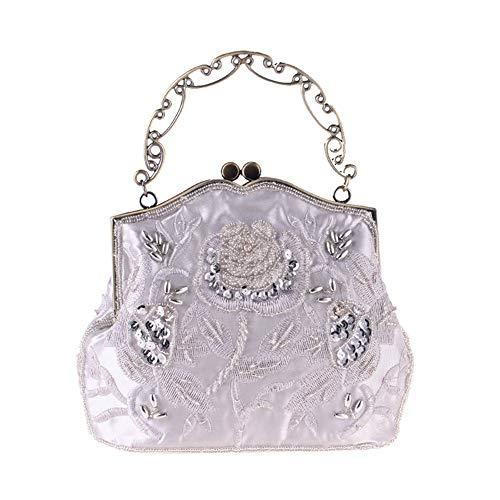 Yzibei pratico Borsa da sera da donna borsa da sposa borsa da sposa con frizione in rilievo vintage da donna (Colore : Nero) Argento