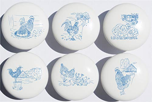 (Country Chicken and Roosters Drawer Knobs Pulls in Blue Toile/Ceramic Dresser, Cupboard or Cabinet Pulls for Kitchen or Children's Nursery Room Decor)