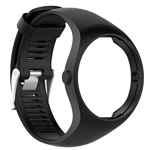 (MOTONG Polar M200 Replacement Band - MOTONG Silicone Replacement Band For Polar M200 GPS Running Watch (Silicone Black))