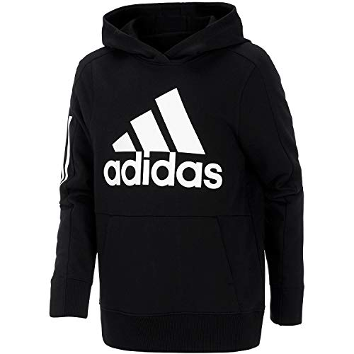 adidas Boys' Athletic Pullover Hoodie (7, Black Adi)